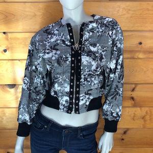 Rachel Roy NWT Baldwin Grey Floral Bomber Jacket